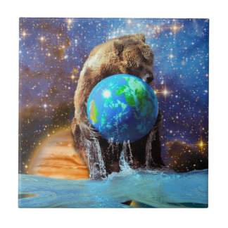 Grizzly Bear & Planet Earth Fantasy Art Tile