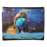 Grizzly Bear & Planet Earth Fantasy Photo Art Wallet