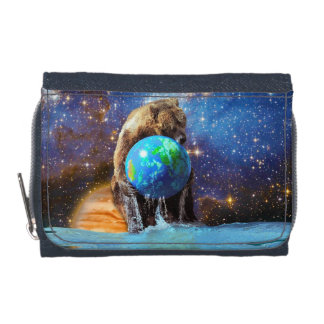 Grizzly Bear & Planet Earth Fantasy Photo Art Wallets