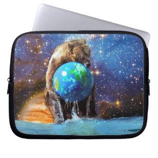 Grizzly Bear & Planet Earth WildlifeFantasy Art Computer Sleeve