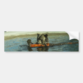 Grizzly Bear Playing with Log Bumper Sticker