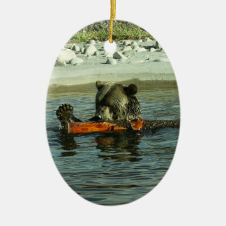 Grizzly Bear Playing with Log Ceramic Ornament