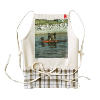 Grizzly Bear Playing with Log Zazzle HEART Apron