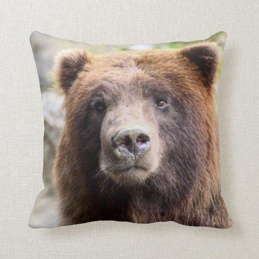 Grizzly Bear Portrait Close Up Pillows