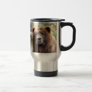 Grizzly Bear Portrait Close Up Travel Mug