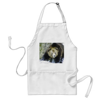 Grizzly Bear Portrait In Snow Adult Apron