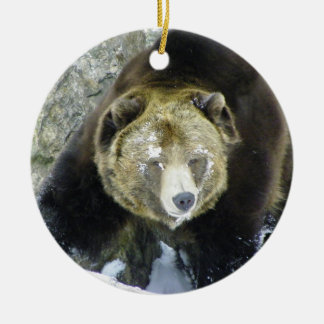 Grizzly Bear Portrait In Snow Double-Sided Ceramic Round Christmas Ornament