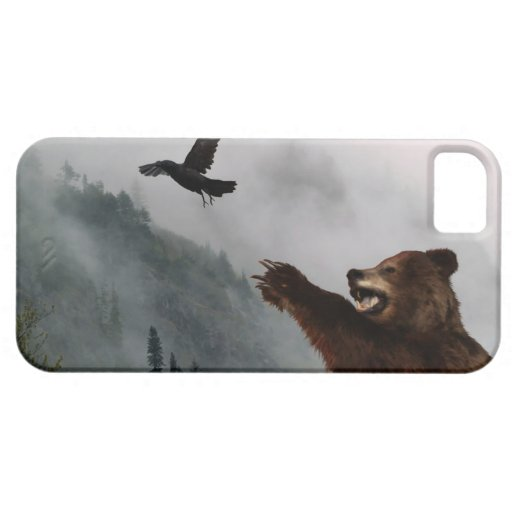 Grizzly Bear & Raven Wildlife Art Phone Case iPhone 5 Covers