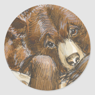 Grizzly Bear Resting Classic Round Sticker