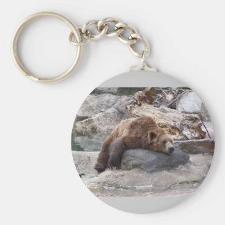 Grizzly Bear Resting On Rock Keychain