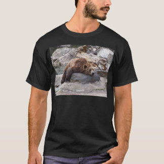 Grizzly Bear Resting On Rock T-Shirt