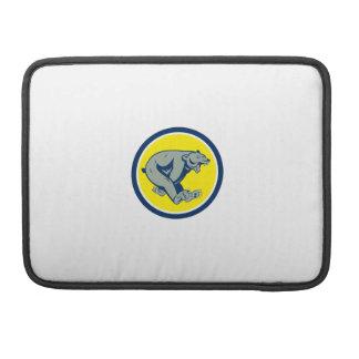 Grizzly Bear Running Circle Cartoon MacBook Pro Sleeves