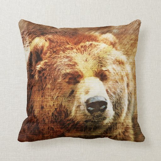 Grizzly Bear Rustic Throw Pillow