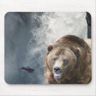 Grizzly Bear Salmon & Waterfall Wildlife Mousepad