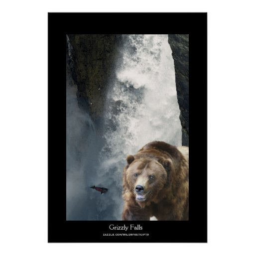 Grizzly Bear & Salmon Wildlife Supporter Poster