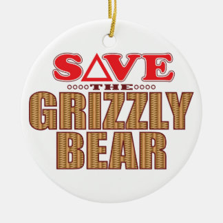 Grizzly Bear Save Ceramic Ornament