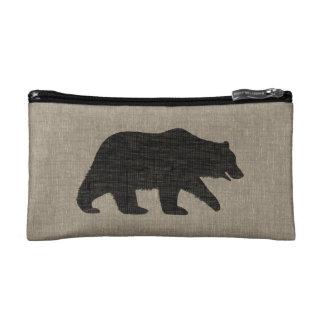 Grizzly Bear Silhouette   Faux Linen Burlap Makeup Bag