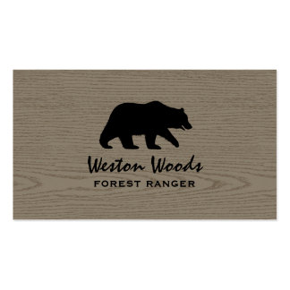 Grizzly Bear Silhouette on Faux Wood Pack Of Standard Business Cards