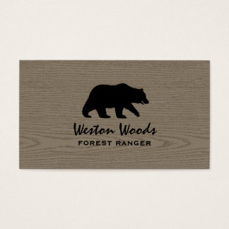 Grizzly Bear Silhouette on Faux Wood Business Card