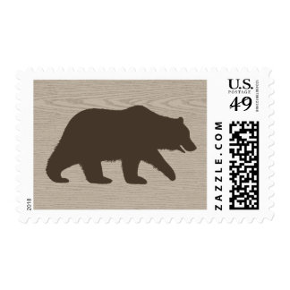 Grizzly Bear Silhouette Postage Stamp