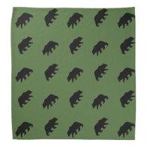 Grizzly Bear Silhouettes Pattern Bandana