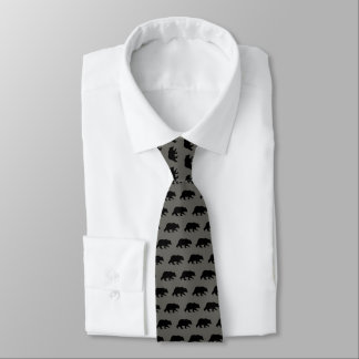 Grizzly Bear Silhouettes Pattern Tie