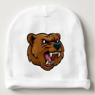 Grizzly Bear Sports Mascot Angry Face Baby Beanie