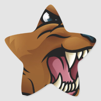 Grizzly Bear Sports Mascot Angry Face Star Sticker