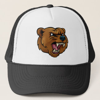 Grizzly Bear Sports Mascot Angry Face Trucker Hat