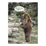 """Grizzly Bear Standing Ovation Invite 5"""" X 7"""" Invitation Card"""