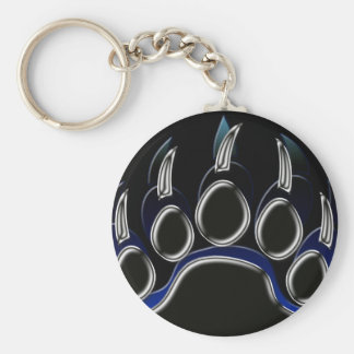 Grizzly Bear Steel Black Blue Paw Graphic Key Chains