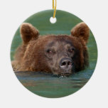 grizzly bear swimming christmas tree ornaments