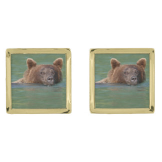 Grizzly Bear Swimming Cufflinks