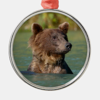 grizzly bear swimming round metal christmas ornament