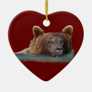grizzly bear swimming Double-Sided heart ceramic christmas ornament