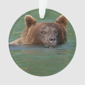 Grizzly Bear Swimming Ornament