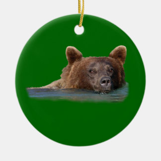 grizzly bear swimming Double-Sided ceramic round christmas ornament