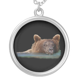 Grizzly Bear Swimming Silver Plated Necklace