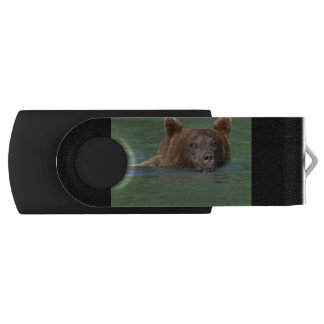 Grizzly Bear Swimming Swivel USB 2.0 Flash Drive