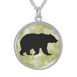Grizzly Bear Walking Black Silhouette Round Pendant Necklace