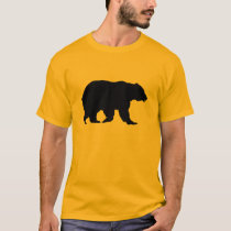 Grizzly Bear Walking Black Silhouette T-Shirt