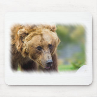 Grizzly Bear White Border Mouse Pad