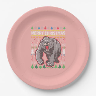 Grizzly Bear Wildlife Merry Christmas Ugly Sweater Paper Plate