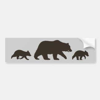 Grizzly Bear with Cubs Silhouettes Bumper Sticker