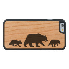 Grizzly Bear With Cubs Silhouettes Carved Cherry Iphone 6 Case at Zazzle