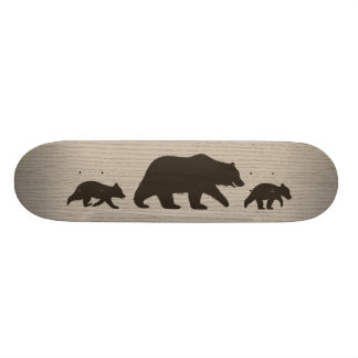 Grizzly Bear with Cubs Silhouettes Skateboard Deck