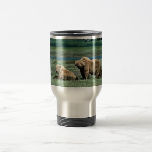 Grizzly Bears 15 Oz Stainless Steel Travel Mug