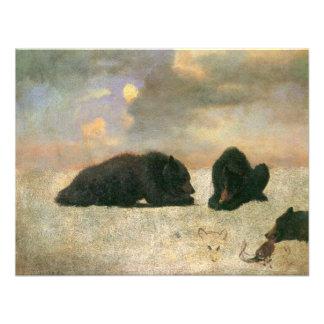 Grizzly Bears by Albert Bierstadt Vintage Animals Custom Invitations