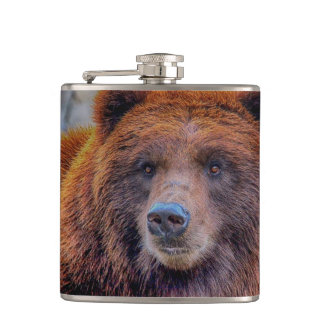 Grizzly Brown Bear Wildlife Photo Hip Flask
