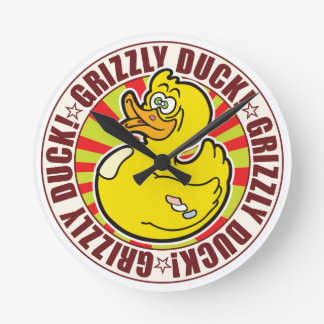 Grizzly Duck Round Wallclock